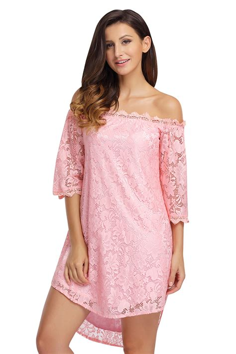 Shoulder 3 4 Sleeve Dress pink the shoulder 3 4 sleeve floral lace dress