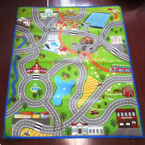rugs with roads for cars city playmat town cars play farm road carpet rug mat ebay