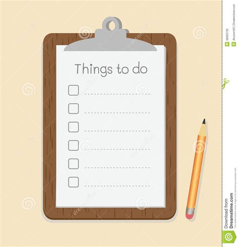 to do with clipboard with to do list on paper and pencil stock vector