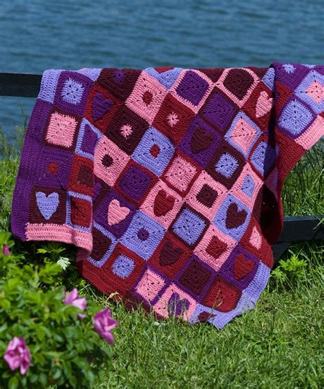 heart pattern afghan free happy hearts afghan crochet pattern from redheart com