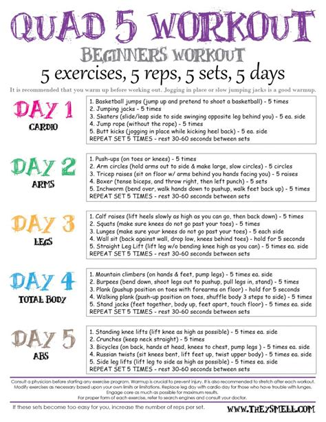 printable exercise program for beginners workout plans new calendar template site