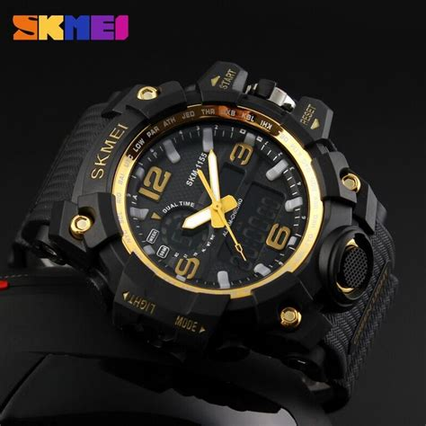 Jam Tangan Skmei 1155 Waterproof Digital Analog 100 Original Murah skmei jam tangan analog digital pria ad1155 black gold jakartanotebook