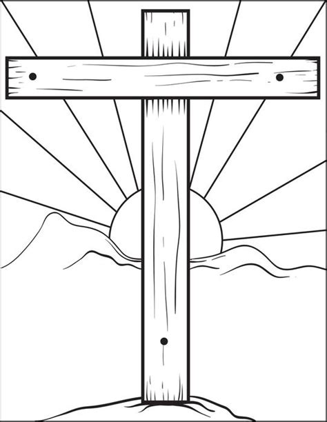 free printable cross coloring page for kids