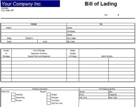 Of Lading Template Free printable sle bill of lading template form real