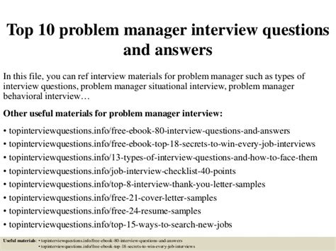 top 10 problem manager interview questions and answers