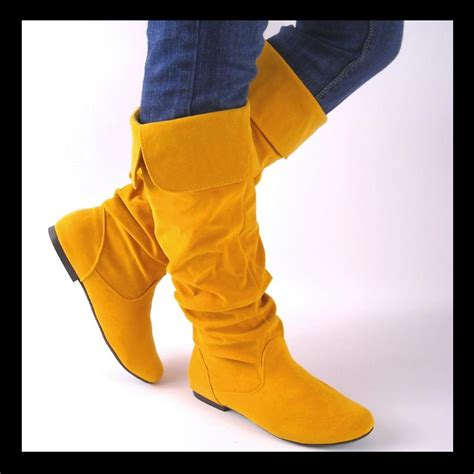 yellow knee high boots new yellow knee high womens slouch boots size 8 ebay