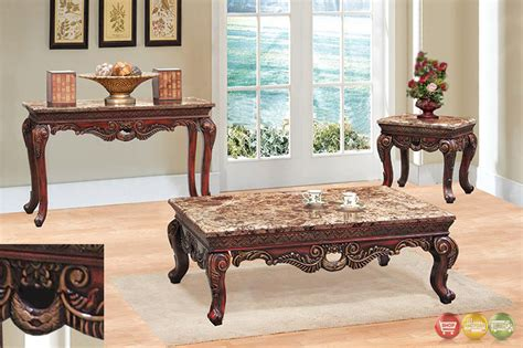 Marble Living Room Table Set Traditional 3 Living Room Coffee End Table Set W Marble Tops