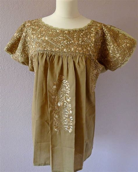 Embroidered Tunic Dress White Size Sml Embroidered Mexican Wedding Dress Blouse Beige Beige Sml