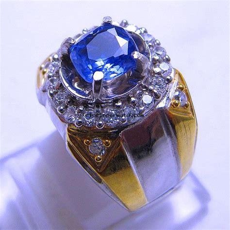 Cincin Pasangan Simple Batu Blue Saphere batu cincin unheated blue sapphire cincinpermata