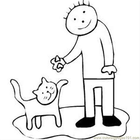 cat boy coloring page coloring pages 66 boy feeding cat animals gt cats free