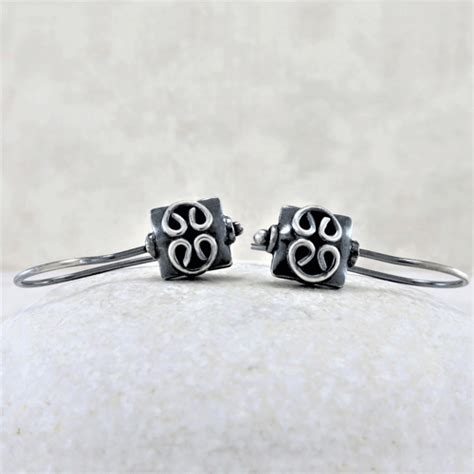 Silver Earrings ~ Square Bead Earrings ~ Sleeper Earrings