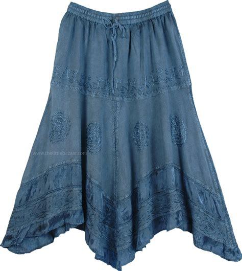 handkerchief hem embroidered denim blue skirt clothing