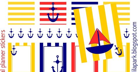 printable nautical stickers free printable nautical planner stickers striped