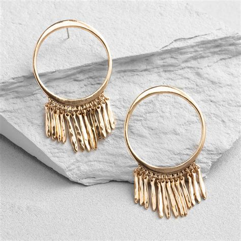 Fringe Hoop gold fringe hoop earrings world market