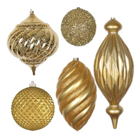 gold ornaments shatterproof ornaments and mesh ribbon