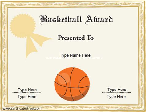 sports certificates basketball award certificate