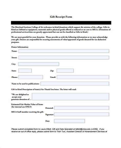Gift Receipt Template Free