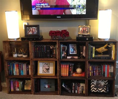 crate bookshelf tv stand living room decor diy but with