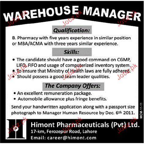 Warehouse Job Description Resume Sample by Warehouse Manager Job Opportunity 2018 Jobs Pakistan Jobz Pk