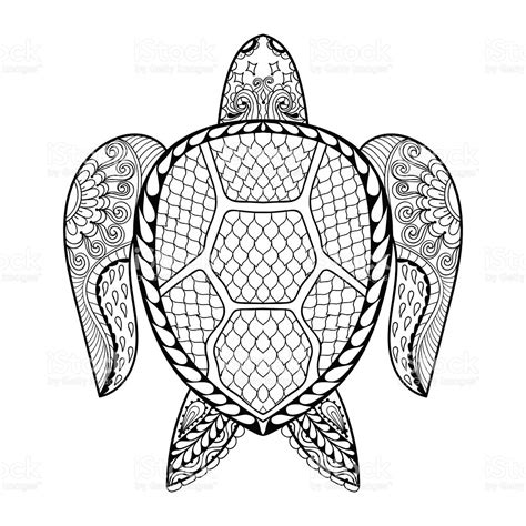 intricate turtle coloring page hand drawn sea turtle for adult coloring pages stock