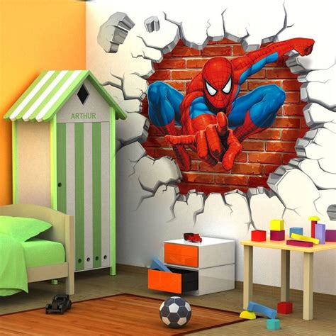 spiderman home decor super hero spider man 3d view wall sticker vinyl art