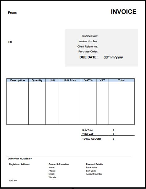 free invoice template uk free invoice template uk use or excel word
