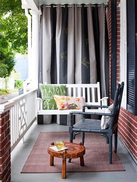 porch with curtains front porch makeovers for summer 2013 from bhg