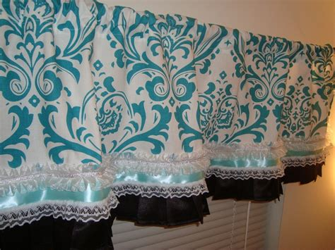 Turquoise Curtains With Valance Damask Window Curtain Valance With Ribbon And Lace