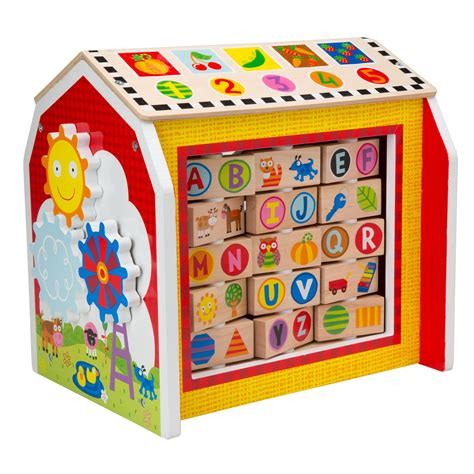 busy toys baby wooden activity cube my busy barn from alex jr