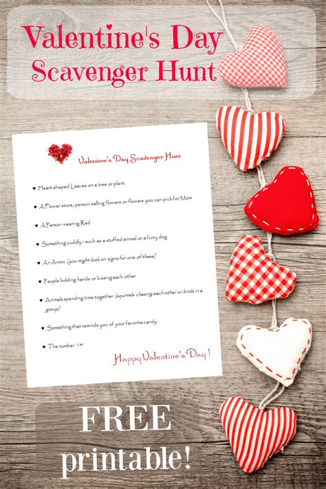 valentines treasure hunt s day scavenger hunt for free printable