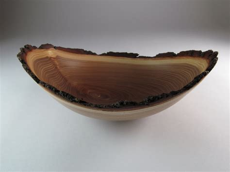 Handmade Wooden Bowl - handmade wooden bowl edge bark elm 1278