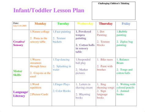 lesson plan template for toddlers 3 toddler lesson plan templatereport template document