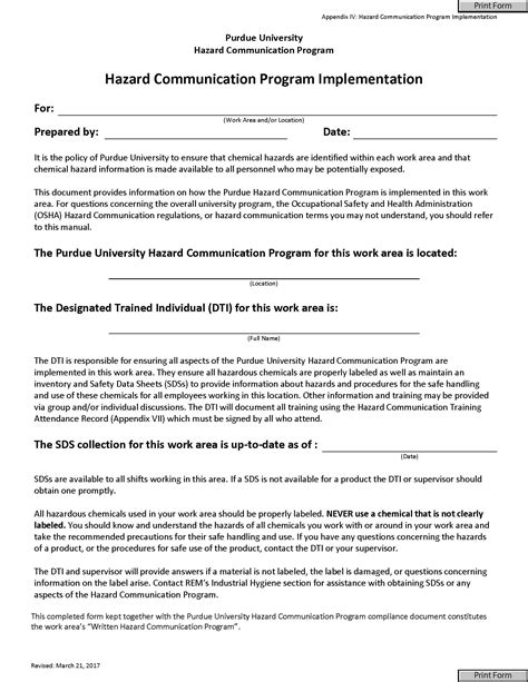 Hazard Communication Plan Cpl 02 02 038 Cpl 2 238d Inspection Procedures For The Hazard Hazard Communication Program Template