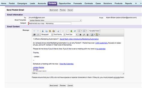Salesforce Email Template send tracked pardot email templates from salesforce