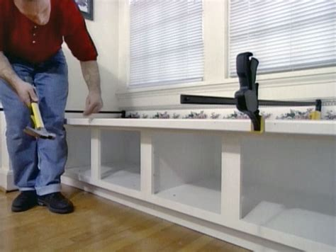 build window bench how to build window seat from wall cabinets how tos diy