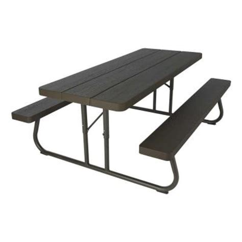 lifetime tables home depot lifetime wood grain folding picnic table 60105 the home