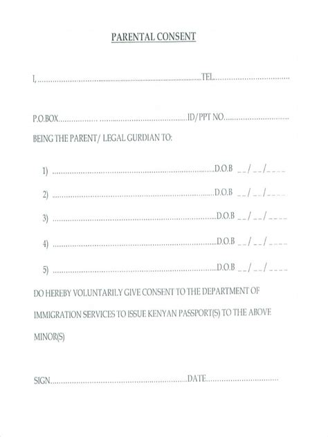 Parental Consent Letter For Passport Renewal 9 Parental Consent Forms Free Sle Exle Format