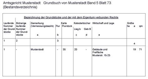 Was Kostet Grundbuchauszug by Grundbuch De Alles 252 Ber Das Bestandsverzeichnis Des
