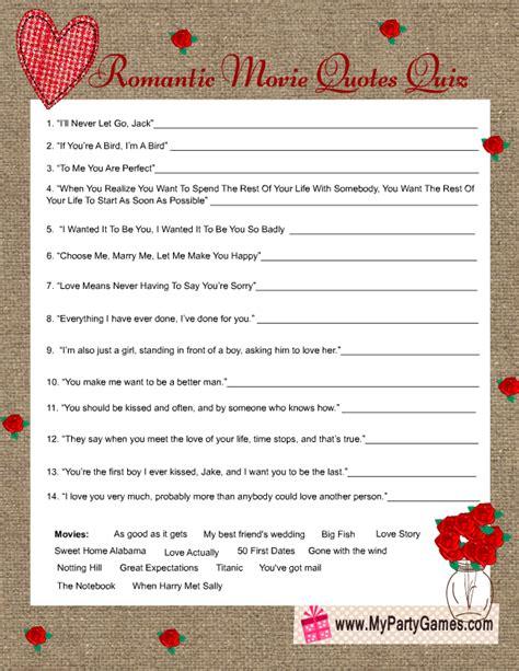 movie quotes game bridal shower romantic movie quotes quiz