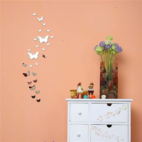 butterfly mirror wall stickers 25pcs 1set 3d butterfly mirror wall sticker home decorations diy silver gold black large decals