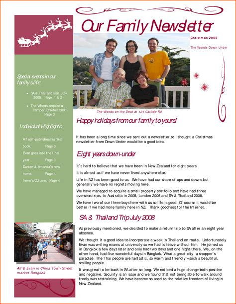 family newsletter template doc 585668 family newsletter template 7 family