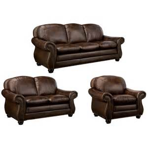 Leather Sofa And Loveseat Deals Monterrey Brown Italian Leather Sofa Loveseat And Chair Overstock Shopping Great Deals On