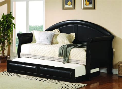 day bed full coaster youth daybed w trundle in black 300114 300110