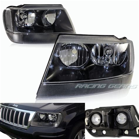 99 Jeep Grand Headlights Black Housing Clear Lens Clear Reflector Headlight Fit 99