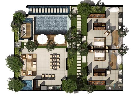 2 Floor Villa Plan Design | 2 bed pool villa floor plan chandra bali villas
