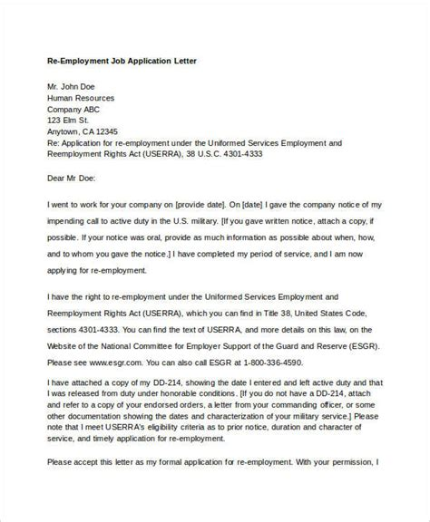 re application letter as a 8 application letter template for employment 10