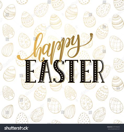 easter card template microsoft word happy easter wording on golden background stock vector