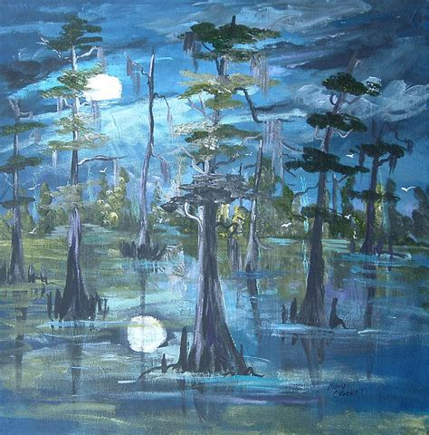 on the bayou moonlight on the bayou painting by crochet