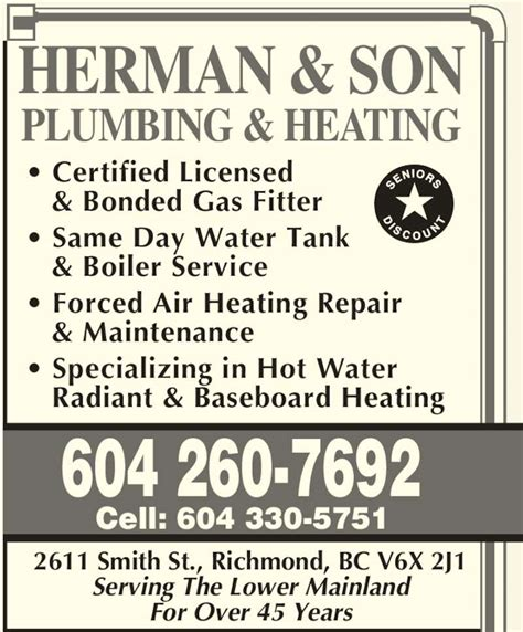 Plumbing Richmond Bc by Herman Plumbing Heating Opening Hours 2611