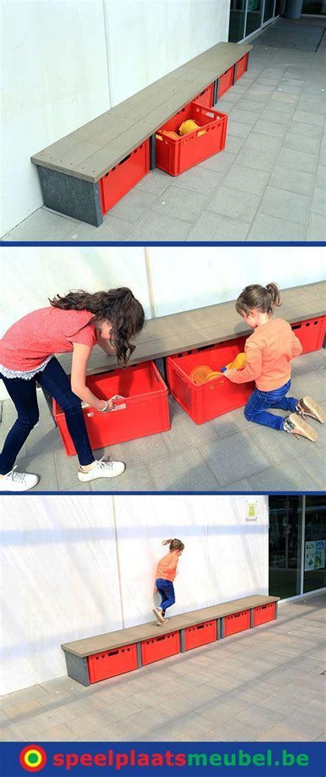 opbergbanken voor op de speelplaats alle buitenspeelgoed - Buitenspeelgoed Speelplaats